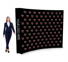 10 ft x 8 ft Fabric Pop Up Curved Media Wall - Step and Repeat Event Backdrops