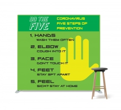 Coronavirus Five Steps of Prevention Straight Pillow Case Backdrop