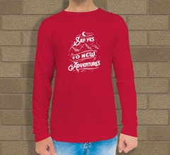 Custom Red Printed Long Sleeves T-Shirt - Crew Neck
