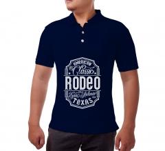 Blue Cotton Polo Shirt- Printed