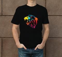 Black Cotton Printed T-Shirt - Crew Neck