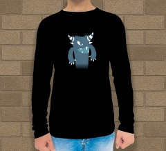 Black Cotton Printed Long Sleeves T-Shirt - Crew Neck
