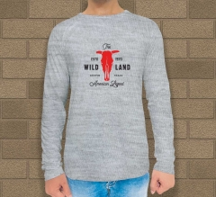 Grey Cotton Printed Long Sleeves T-Shirt - Crew Neck