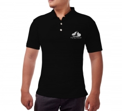 Black Cotton Polo Shirt - Embroidered