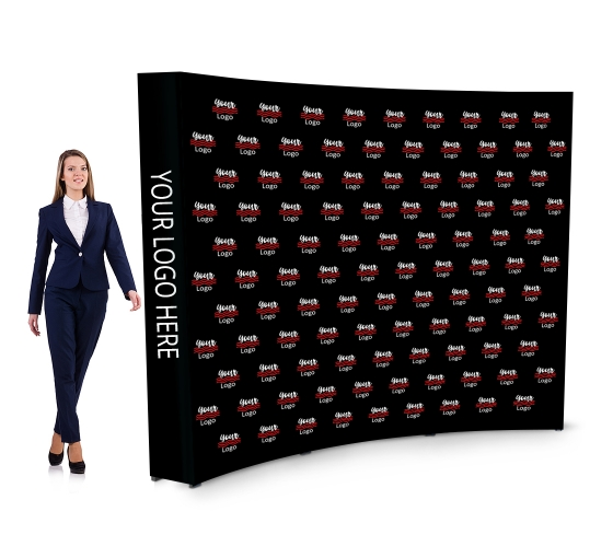 10 ft x 8 ft Step and Repeat Fabric Pop Up Curved Media Wall
