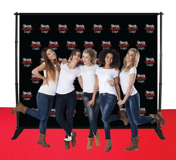 10 ft x 8 ft Step and Repeat Adjustable Media Wall