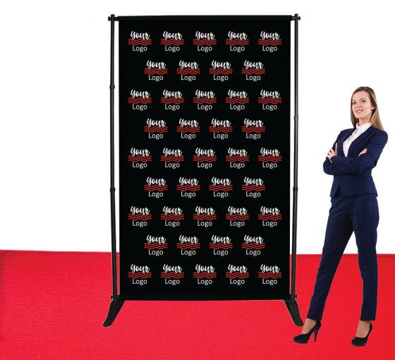 5 ft x 8 ft Adjustable Media Wall - Step and Repeat Event Backdrops