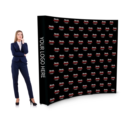 8 ft x 8 ft Fabric Pop Up Curved Media Wall - Step and Repeat Event Backdrops