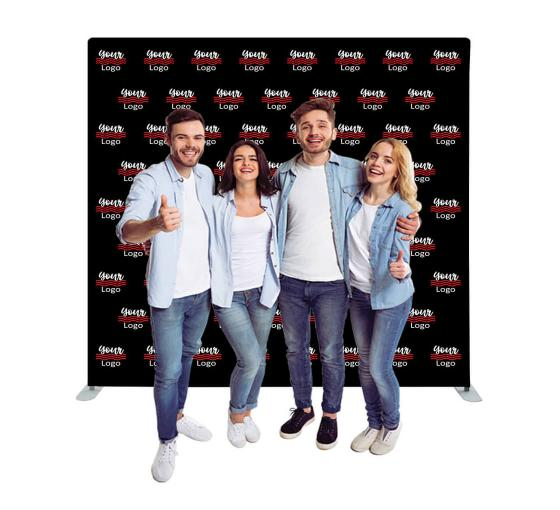 8 ft x 8 ft Step and Repeat Straight Pillow Case Media Wall