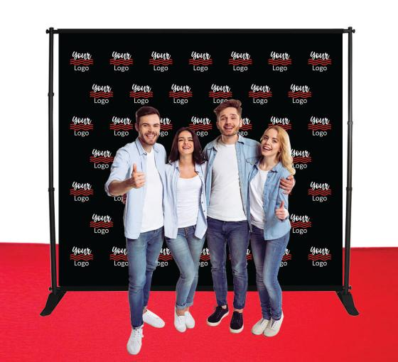 9 ft  x 8 ft Adjustable Media Wall - Step and Repeat Event Backdrops