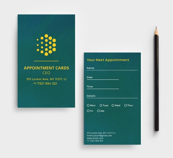 Business Appointment Cards - Vertical