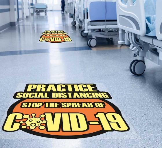 Practice Social Distancing Stop the Spread Floor Decals
