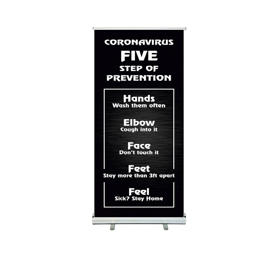 Coronavirus Five Steps of Prevention Roll Up Banner Stands