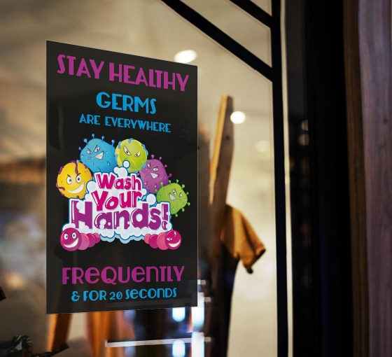 Stay Healthy Germs Everywhere Wash your Hands Window Clings