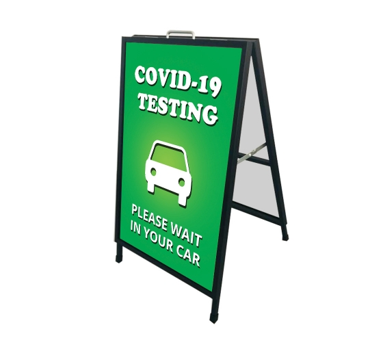 Covid-19 Testing Please Wait in your Car Metal Frames