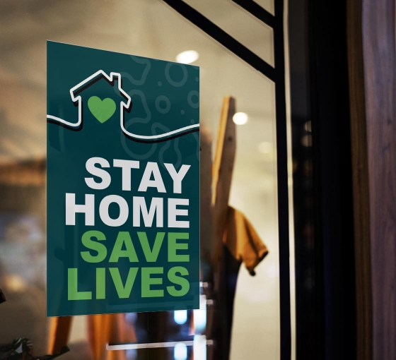 Stay Home Save Lives Window Clings