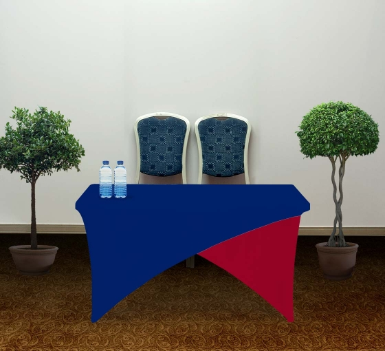 4' Cross Over Table Covers - Blue & Red