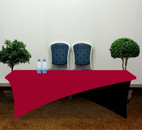8' Cross Over Table Covers - Red & Black