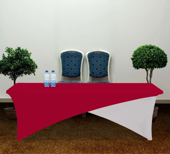 8' Cross Over Table Covers - Red & White