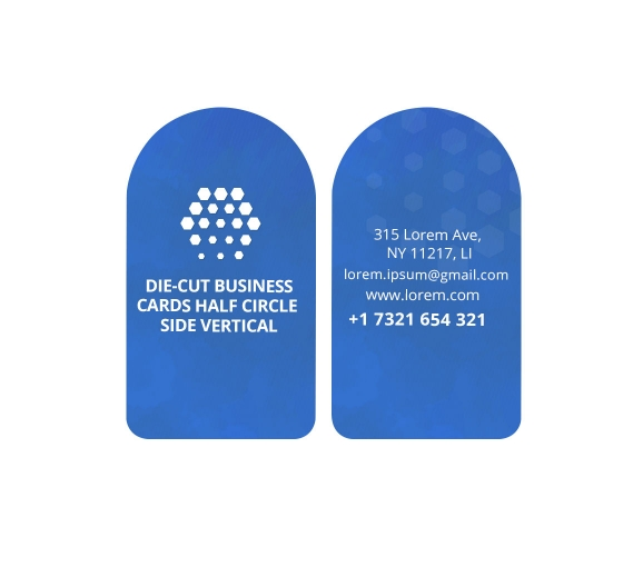 Half Circle Side Business Cards - Vertical