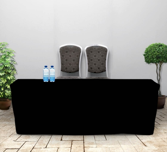 8' Fitted Table Covers - Black - Zipper Back