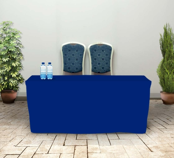 6' Fitted Table Covers - Blue - Zipper Back