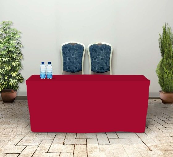 6' Fitted Table Covers - Red - Zipper Back