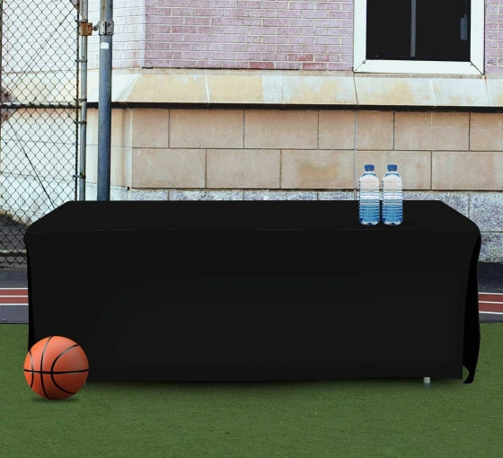 8' Open Corner Table Covers - Black - 4 Sided