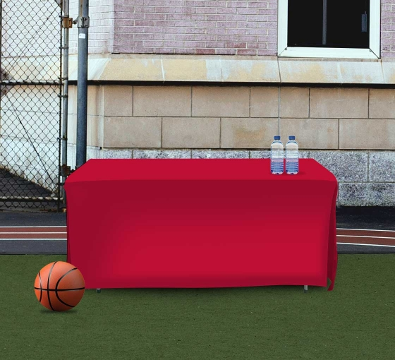 6' Open Corner Table Covers - Red - 4 Sided