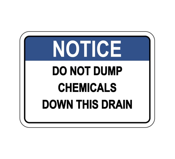 No Chemicals Allowed Sign