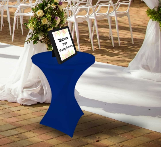 31.5'' Round Stretch Table Covers - Blue